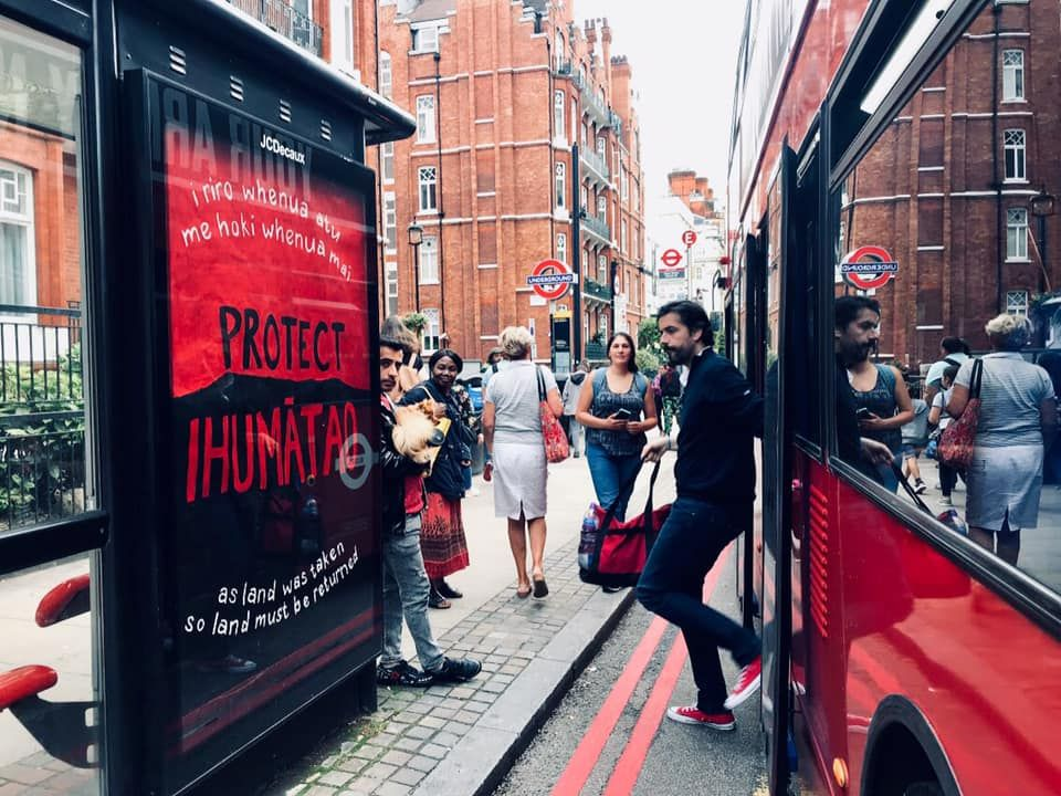 Protect Ihumātao signs appear in London streets