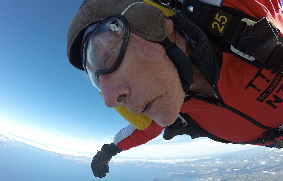 Octogenarian fundraiser leaps from plane